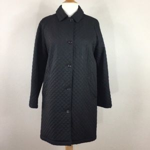 Burberry Black Quilted Removable Hood Coat Sz 6
